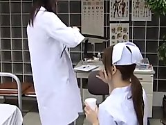 Japanese nurse tied to bed and licked