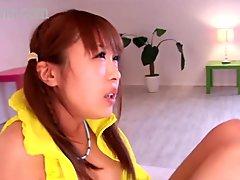 Japanese teen couple still in panties getting her BF bukkake